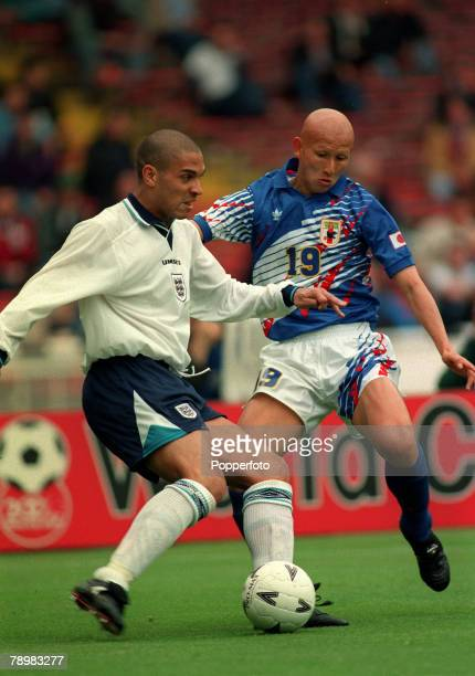 3rd June 1995 Umbro Cup Wembley Englandv Japan England striker Stan Collymore challenged by Japan's Kazuaki Tasaka Stan Collymore had a colourful...