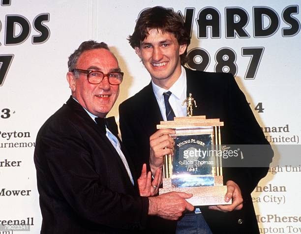 Sport Football Professional Footballers Association Awards London England 5th April 1987 Arsenal defender Tony Adams is presented with his PFA Young...
