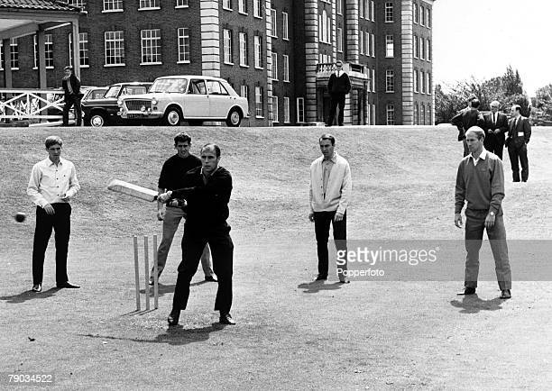 Sport Football Roehampton England 7th July 1966 A friendly cricket match between the England World Cup football squad George Cohen is pictured...