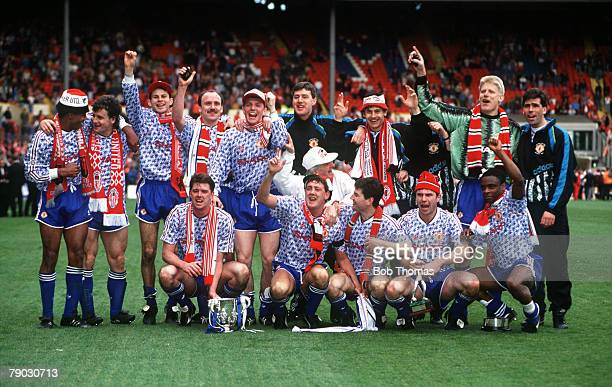 Sport Football Rumbelows League Cup Final Wembley London England 12th April 1992 Manchester United 1 v Nottingham Forest 0 The victorious Manchester...