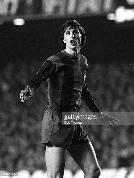 Sport Football Spain 15th March 1978 UEFA Cup Quarter Final Second Leg Barcelona 2 v Aston Villa 1 Barcelona's Johan Cruyff is pictured during the...