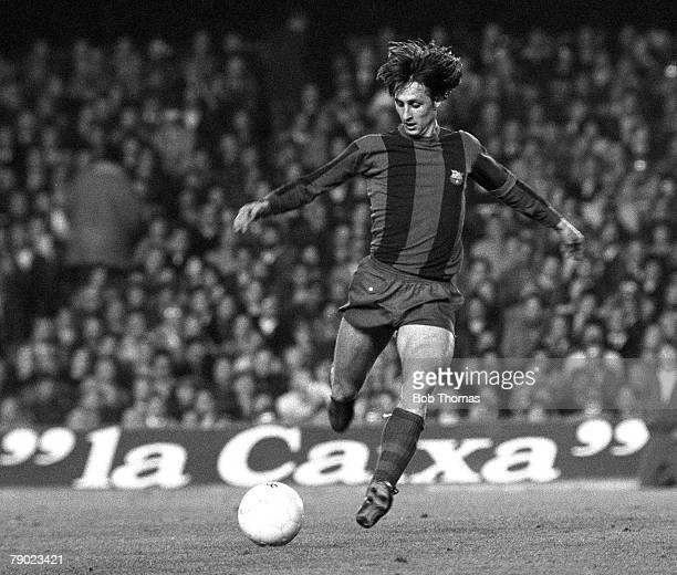 Sport Football Spain 15th March 1978 UEFA Cup Quarter Final Second Leg Barcelona 2 v Aston Villa 1 Barcelona's Johan Cruyff in action during the...