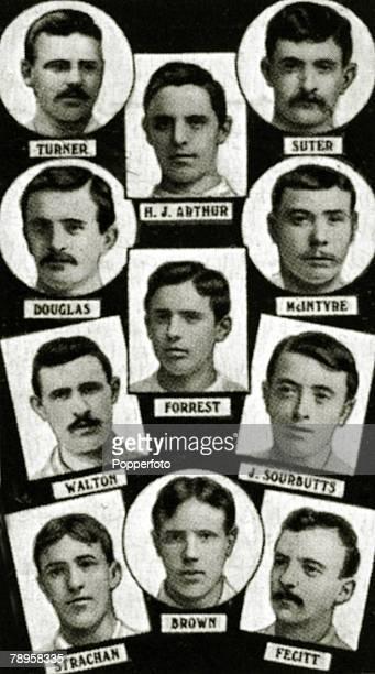 Sport Football The 1886 English FA Cup winners Blackburn Rovers from top to bottom leftright Turner RJArthur Suter Douglas Forrest McIntyre Walton...