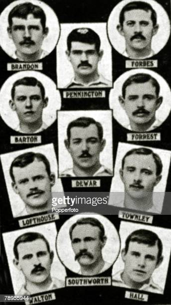 Sport Football The 1891 English FA Cup winners Blackburn Rovers from top to bottom leftright Brandon Pennington Forbes Brandon Dewar Forrest...