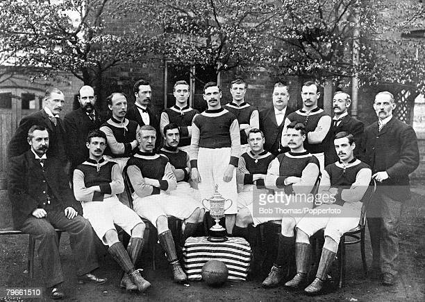 Sport Football The English FA Cup winners Aston Villa line up together for a group photograph with the trophy Back Row LR J Grierson J Dunkley...