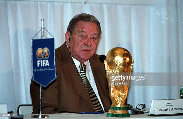 Sport Football Tokyo Japan December 7th FIFA 2000 World Cup Draw The FIFA World Cup trophy displayed in its box at the World Cup 2002 draw