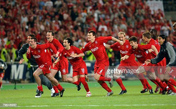 Sport Football UEFA Champions League Final 25th May 2005 Ataturk Stadium Istanbul AC Milan 3 v Liverpool 3 The liverpool players celebrate victory in...