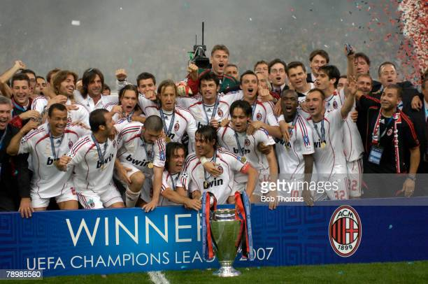 Sport Football UEFA Champions League Final Athens 23rd May 2007 AC Milan 2 v Liverpool 1 AC Milan celebrate with the trophy with captian Paolo...