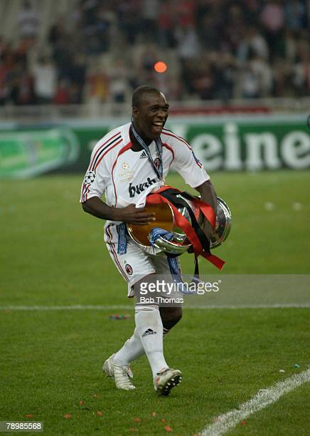 Sport Football UEFA Champions League Final Athens 23rd May 2007 AC Milan 2 v Liverpool 1 AC Milan's Clarence Seedorf celebrates with the trophy
