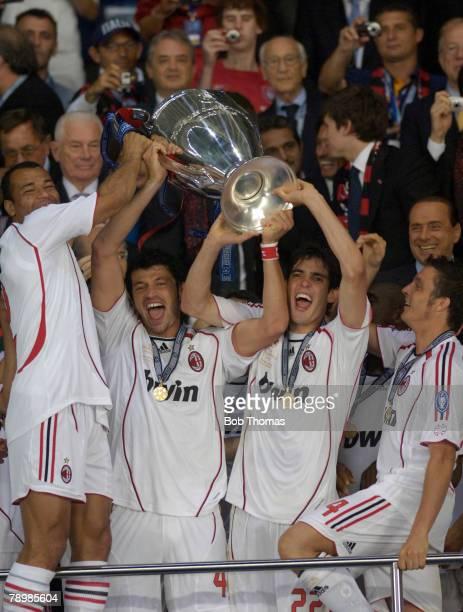 Sport Football UEFA Champions League Final Athens 23rd May 2007 AC Milan 2 v Liverpool 1 AC Milan's Cafu Kakha Kaladze Kaka Massimo Oddo celbrate...