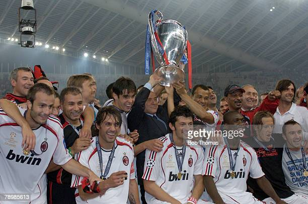 Sport Football UEFA Champions League Final Athens 23rd May 2007 AC Milan 2 v Liverpool 1 AC Milan's President Silvo Berlusconi celebrates with the...