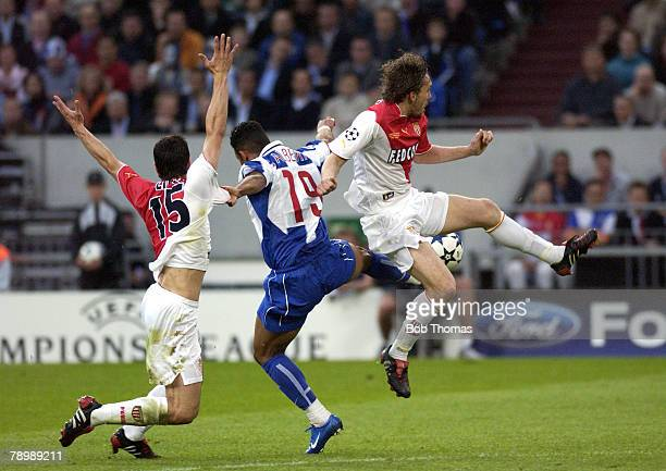 Sport Football UEFA Champions League Final Gelsenkirchen 26th May 2004 AS Monaco 0 v FC Porto 3 Monaco's Gael Givet jumps to kick the ball while...