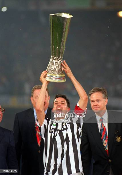 Sport Football UEFA Cup Final Second Leg Turin 19th May 1993 Juventus 3 v Borussia Dortmund 0 Juventus captain Roberto Baggio holds the trophy aloft