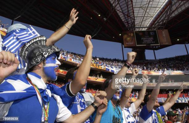 Sport Football UEFA European Championships Euro 2004 Estadio Da Luz Lisbon 4th July 2004 Final Portugal 0 v Greece 1 Colourful Greek fans with...