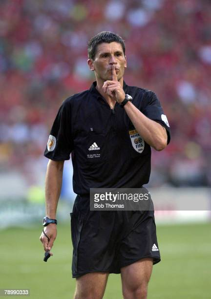 Sport Football UEFA European Championships Euro 2004 Estadio Da Luz Lisbon 4th July 2004 Final Portugal 0 v Greece 1 Referee Markus Merk
