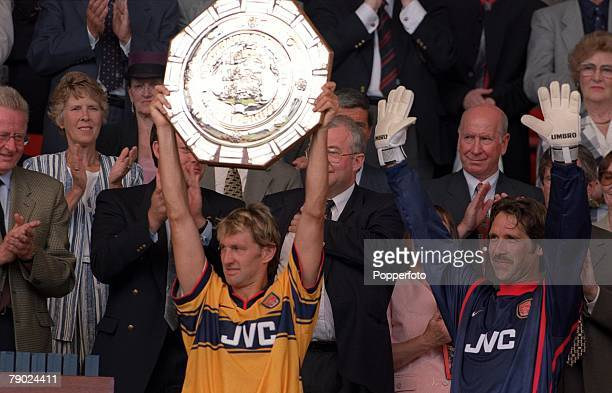 Sport Football Wembley London England AXA FA Charity Shield 9th August 1998 Arsenal 3 v Manchester United 0 Arsenal captain Tony Adams lifts the...