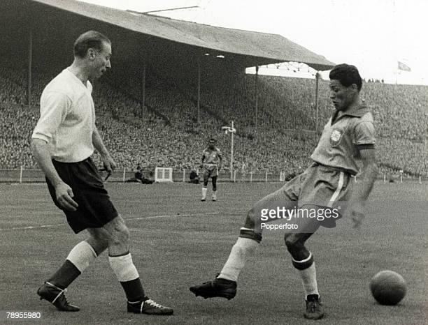 Sport Football Wembley London England October 1956 England v Brazil England's Stanley Matthews with Brazil's Nilton Santos