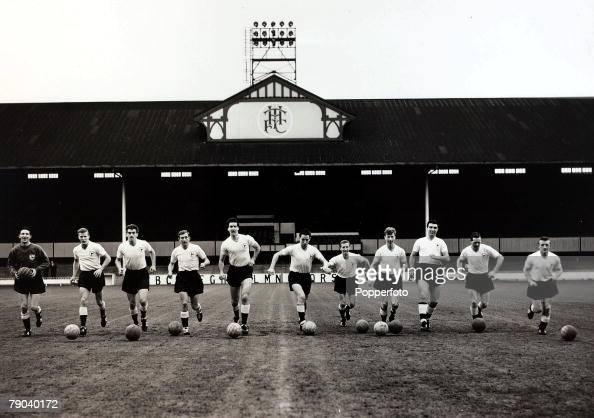 Sport Football White Hart Lane London England The Tottenham Hotspur 'Double' winning side of 19601961 season winners of the League Championship...