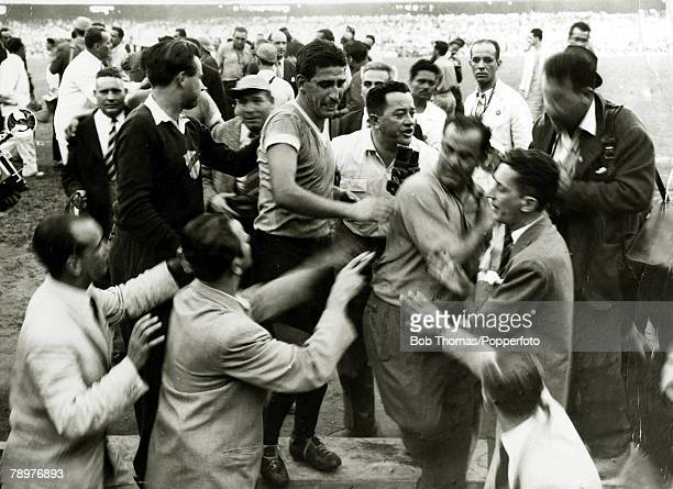 Sport Football World Cup Final 16th July 1950 Maracana Stadium Rio de Janeiro Brazil 1 v Uruguay 2 Chaotic scenes at the final whistle with Uruguay...