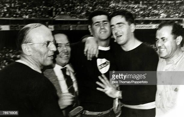 Sport Football World Cup Final 16th July 1950 Maracana Stadium Rio de Janeiro Brazil 1 v Uruguay 2 Jubilant Uruguay goalkeeper Roque Maspoli hugs...
