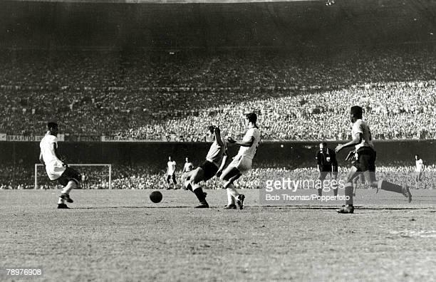 Sport Football World Cup Final 16th July 1950 Maracana Stadium Rio de Janeiro Brazil 1 v Uruguay 2 As the first half draws to a close the Uruguayan...