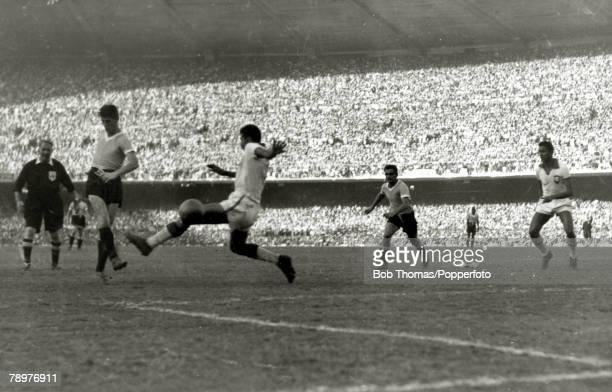 Sport Football World Cup Final 16th July 1950 Maracana Stadium Rio de Janeiro Brazil 1 v Uruguay 2 Juan Alberto Schiaffino shoots past Brazilian...