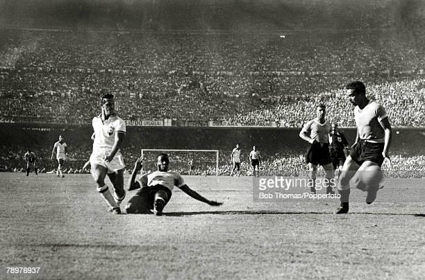 Sport Football World Cup Final 16th July 1950 Maracana Stadium Rio de Janeiro Brazil 1 v Uruguay 2 Brazilian forward Ademir is challenged by Uruguay...