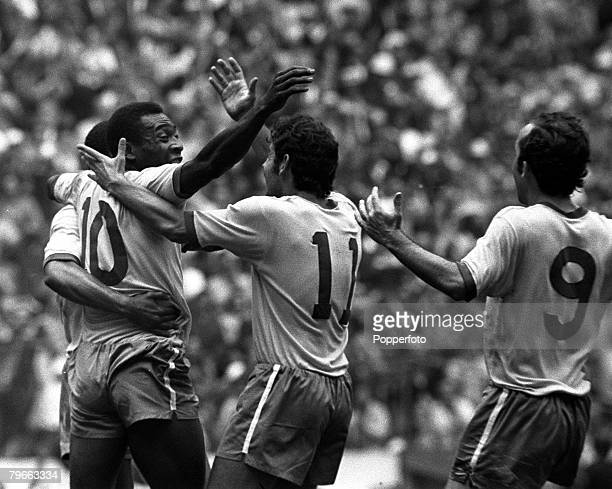 Sport Football World Cup Final Mexico City Mexico 21st June 1970 Brazil 4 v Italy 1 Brazil's Pele is hugged by Rivelino after he had scored the first...