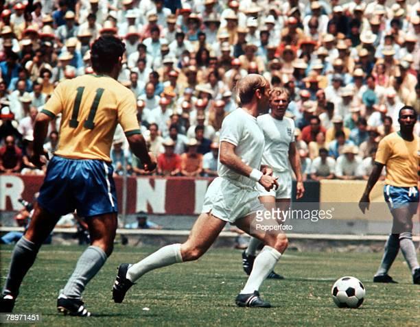 Sport Football World Cup Finals Group Three Guadalajara Mexico 7th June 1970 Brazil 1 v England 0 England's Bobby Charlton runs with the ball as...
