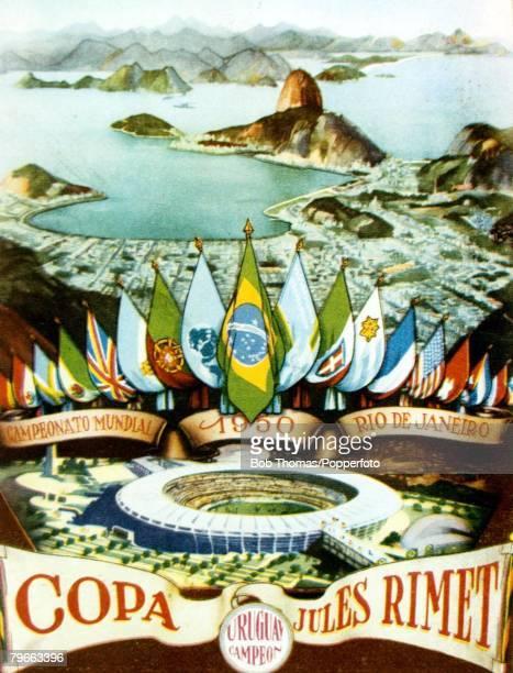 Sport Football World Cup finals in Brazil Souvenir postcard featuring the Maracana Stadium and views over Rio de Janerio