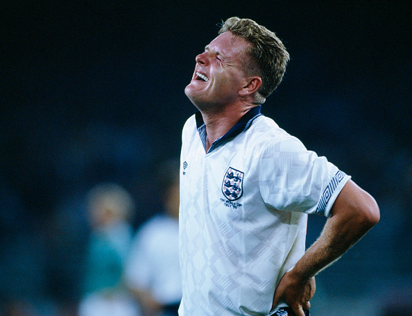 BT Sport, Football, World Cup Finals, Semi-Final, Turin, Italy, 4th July 1990, West Germany 1 v England 1 aet, Germany win 4-3 on penalties, Paul Gascoigne of England : News Photo