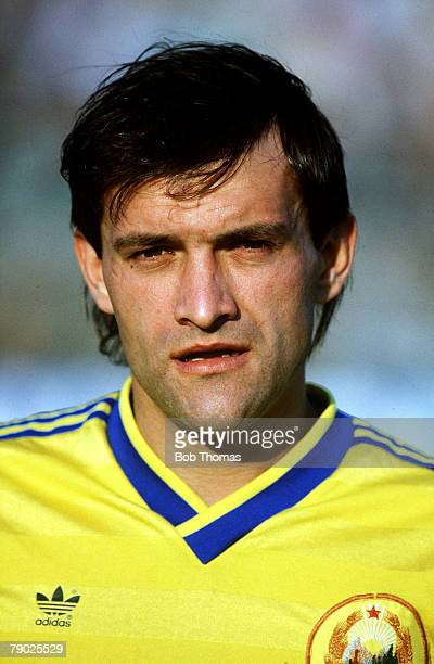 Sport Football World Cup Qualifier Bucharest 17th May 1989 Romania 1 v Bulgaria 0 Portrait of Gavril Balint Romania