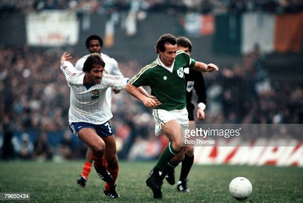 Sport Football World Cup Qualifier Dublin 14th October 1981 Republic of Ireland 3 v France 2 Ireland's Liam Brady is chased by Rene Girard of France