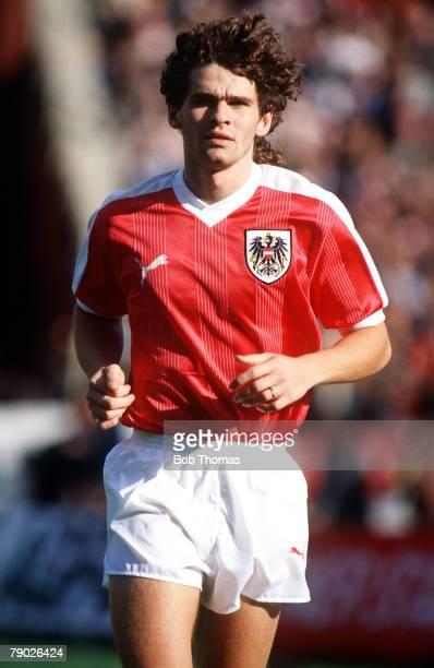 Sport Football World Cup Qualifier Istanbul 25th October 1989 Turkey 3 v Austria 0 Austria's Peter Artner