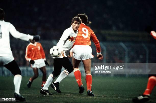 Sport Football World Cup Qualifier Rotterdam 20th November 1985 Holland 2 v Belgium 1 Belgium's Hugo Broos keeps a watch of the ball