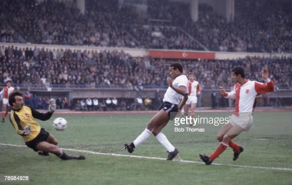 Sport Football World Cup Qualifying match 14th November 1984 Istanbul Turkey v England 4th England goal England's John Barnes shoots past Turkish...
