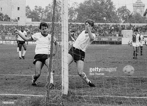 Sport Football World Cup Qualifying match 14th November 1984 Istanbul Turkey v England England's 3rd goal England captain Bryan Robson scores...