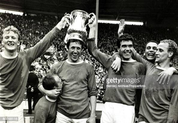 15th May 1966 1966 FA Cup Final Wembley Everton 3 v Sheffield Wednesday Everton celebrate with the FACup after coming back from 2 goals down to win...