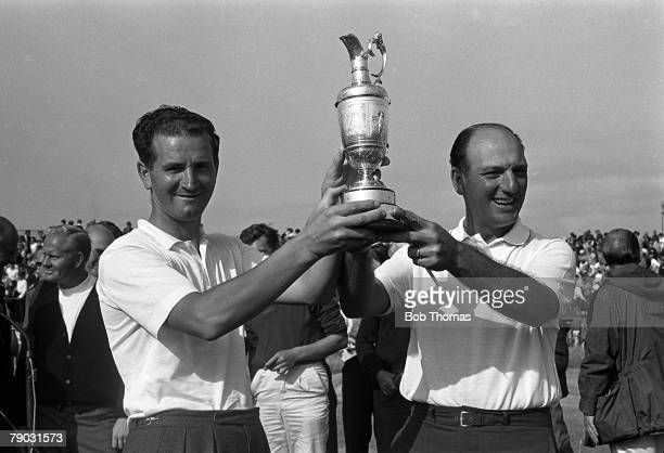 Sport Golf British Open Championship Hoylake England Argentina's Roberto de Vicenzo holds the Claret Jug trophy after winning the tournament with...