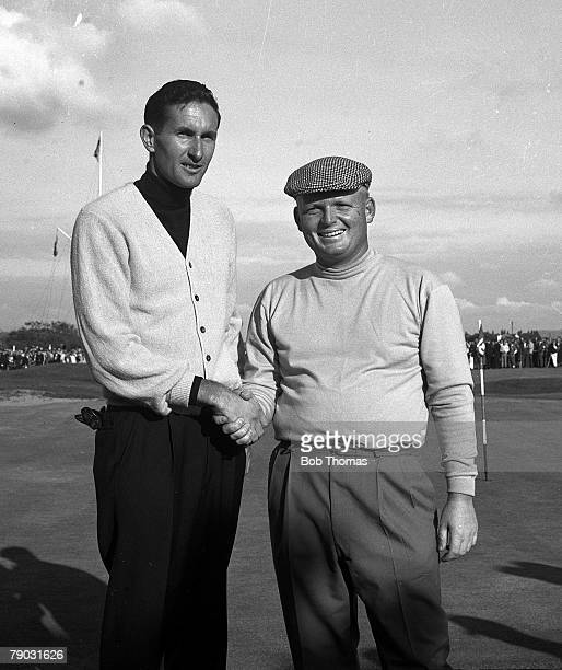 Sport Golf British Open Championship Royal Lytham and St Annes Lancashire England New Zealand's Bob Charles shakes hands with USA's Phil Rodgers...