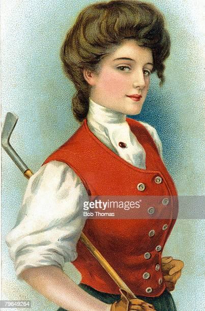 Sport Golf circa 1910 Illustration Lady Golfer