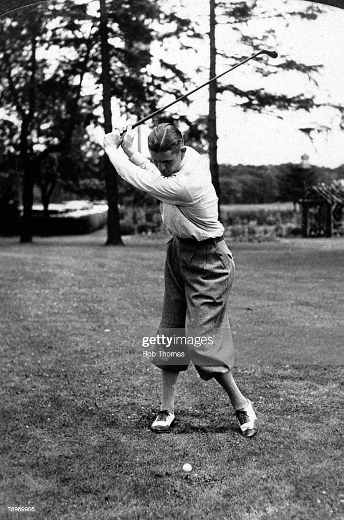Sport Golf Circa 1930 USA's Horton Smith at the top of his swing at the Winged Foot Country Club MamaroneckNew York
