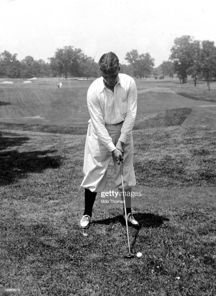 Sport Golf Circa 1930 Winged Foot Country Club Mamaroneck New York USA's Bobby Joneswinner of 3 British and 4 USOpens adresses the ball