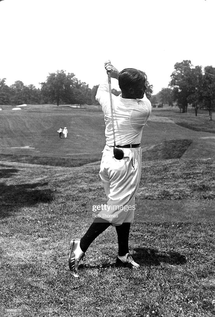 Sport Golf Circa 1930 Winged Foot Country Club Mamaroneck New York USA's Bobby Joneswinner of 3 British and 4 USOpens at the finish of his swingwood...
