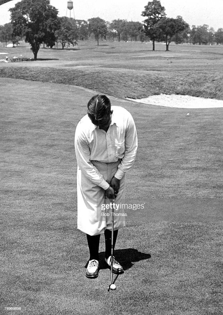 Sport Golf Circa 1930 Winged Foot Country Club Mamaroneck New York USA's Bobby Joneswinner of 3 British and 4 USOpens adressing the ball for a putt