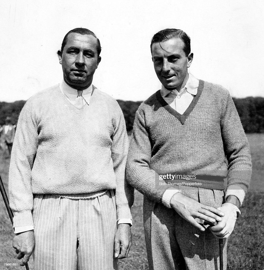Sport Golf Henry Cotton The picture shows Great Britain's Henry Cotton right with American star Walter Hagen