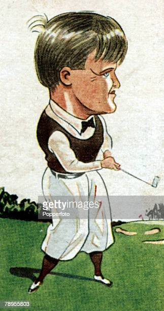 Sport Golf Illustration Caricature pic circa 1920's Bobby Jones USA British Open Golf Champion 1926 1930 and US Open Champion 1923 1929 1930