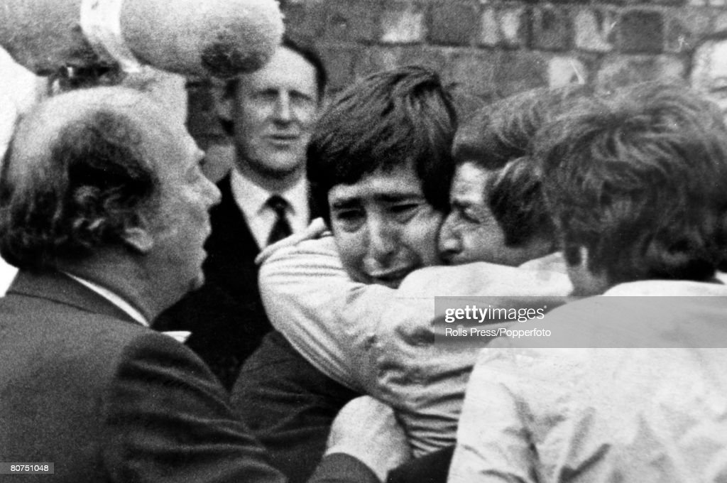 21st July 1979, British Open Golf Championship at Lytham St, Annes, Spain's Severiano Ballesteros shows tears of emotion as he his hugged by brother Baldomero, after winning the the Championship