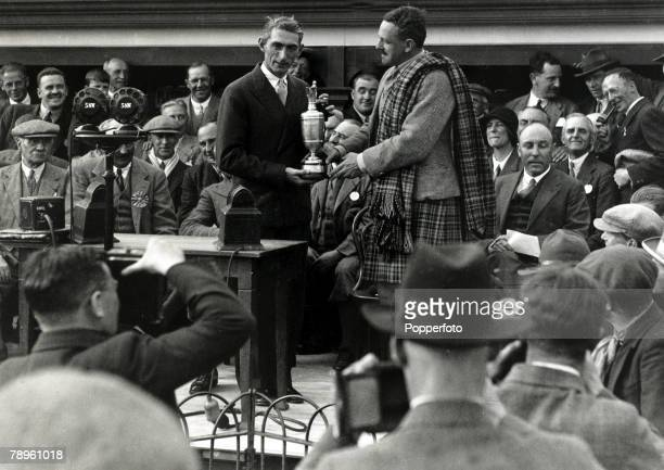 6th June 1931 1931 British Open Golf Championship at Carnoustie Scotland USA based Scotsman Tommy Armour receives the Open Golf Championship trophy...