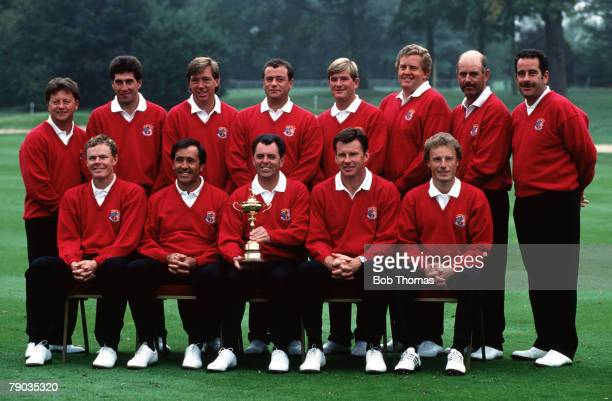 Sport Golf The Ryder Cup The Belfry England September 1993 Europe 13 v USA 15 The European team pose together with the Ryder Cup trophy prior to the...